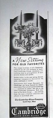 1938 Cambridge Crystal Glass Epergnette Candleholder Ad