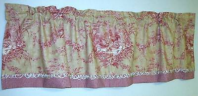 Custom French Country Valance Waverly Fabric La Petite Ferme Rooster Toile  Cust