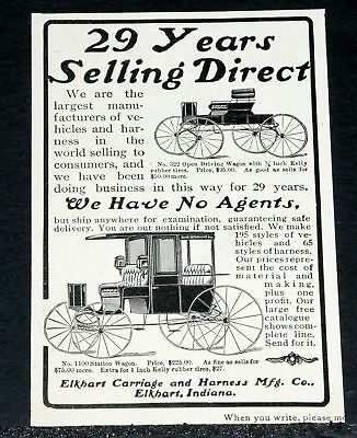 1902 Old Magazine Print Ad, Elkhart Carriage & Harness Co, 1100 Station Wagon!