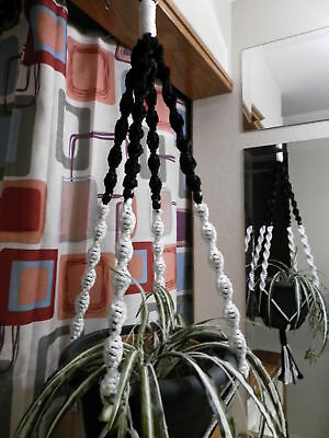 Macrame Plant Hanger BLACK and WHITE 4 BLACK BEADS
