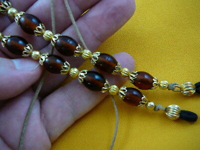 E-200  dark Amber glass bead jewelry Eyeglass leash holder chain lanyard beaded