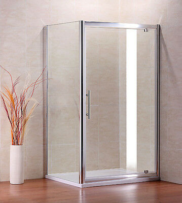 Pivot door shower enclosure glass screen side panel stone tray free waste