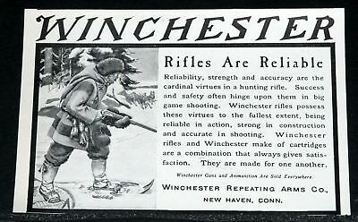1906 Old Magazine Print Ad, Winchester Rifles Are Reliable, Strength & Accuracy!