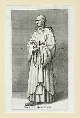 17th century engraving of a Cistercian Monk by Wenceslaus Hollar