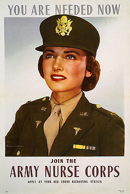 Join the Army Nurse Corps Apply Red Cross 1943 Poster