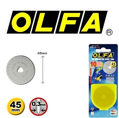 OLFA 45mm Rotary Cutter Spare Blade RB45-10 - 10 Blades