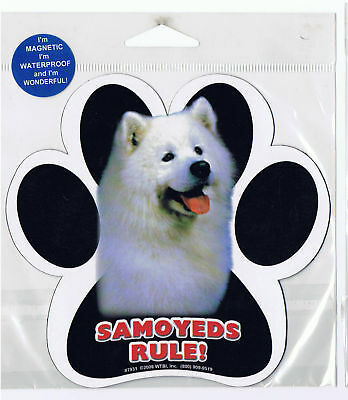 Samoyeds Rule Waterproof Bumper Sticker Magnet NIP