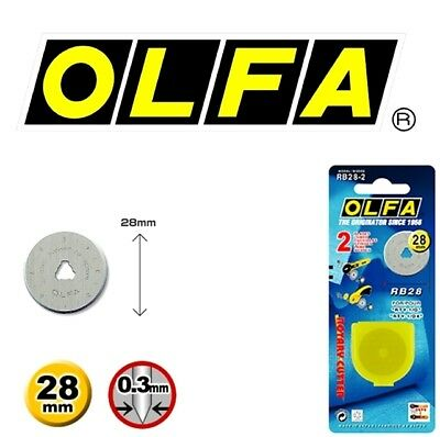 2 Blades OLFA 28mm Rotary Cutter Refill Blades RB28-2