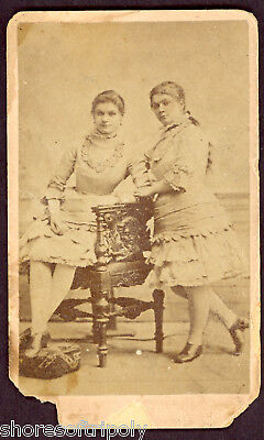 19th C. TWIN PROSTITUTE S ORIGINAL PHOTO / CDV ~ VICTORIAN ERA ~ RARE PORTRAIT