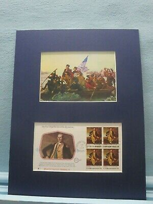George Washington Crosses the Delaware & First day Cover of his own stamp