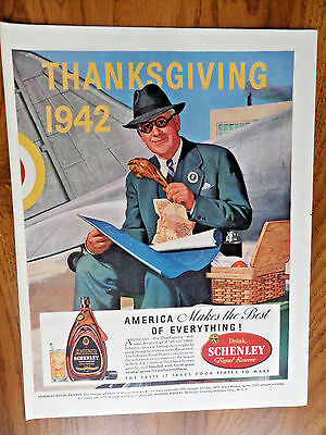 1942 Schenley Reserve Whiskey Ad Thanksgiving