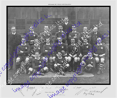 WALES v ALL BLACKS 1905 RUGBY PRINT WITH AUTOGRAPHS