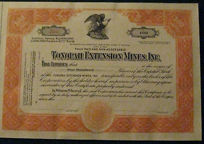 Tonopah Extension Mines..gold  Silver Stock Certificate