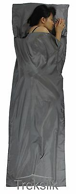 TREKSILK GREY Silk Liner Sleeping Bag/Sack Hostel Travel Bed Sheet Protector