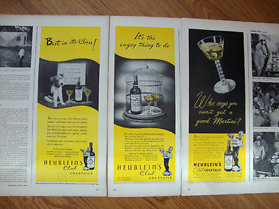 1944 Heublein Club Cocktails Ad  Lot of 3 Ads