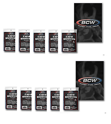 (1000) BCW Trading Card Sleeves Acid Free - Crystal Clear 10 Packs, 100ct Each