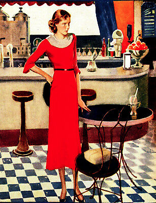 Vintage POSTER.Woman in Red.Cafe or Room art Decor.651