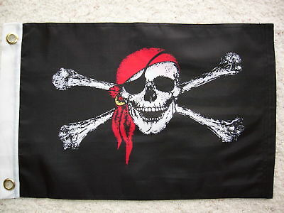 "Jolly Roger Red Cap Pirate Flag 12""x18"" Boat/motorcycle"