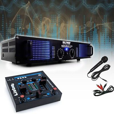 PA SET Partyanlage 2400W PA-Endstufe Mischpult USB MP3 Partykeller Musikanlage