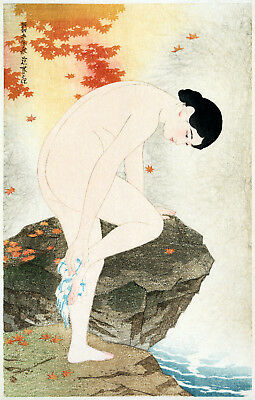 Vintage Oriental POSTER.Stylish Graphics.Taking a Bath.Asian Decor.750