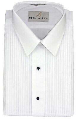 MENS Classic Fit White Formal Tuxedo Shirt LAYDOWN Collar New ALL SIZES