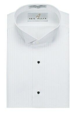 "NEW Classic MENS White Formal 1/4"" Pleat Tuxedo Shirt WING TIP All Sizes SH04"