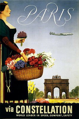 Vintage French POSTER.Stylish Graphics. Flower lady. Plane.House Art Decor.786