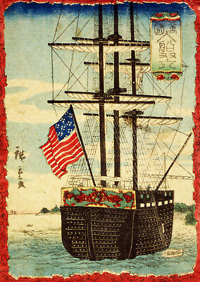 Vintage Oriental Style POSTER.Stylish Graphic.Asian Ship.kitchen Wall Decor.1086