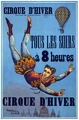 Vintage Circus POSTER.Stylish Graphics.Hot Air Balloon.House Wall Decor.1087