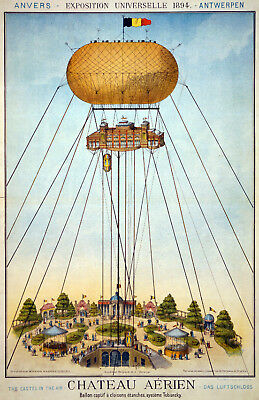 Vintage Circus POSTER.Stylish Graphics.Hot Air Balloon.Wall Decor.House.1088