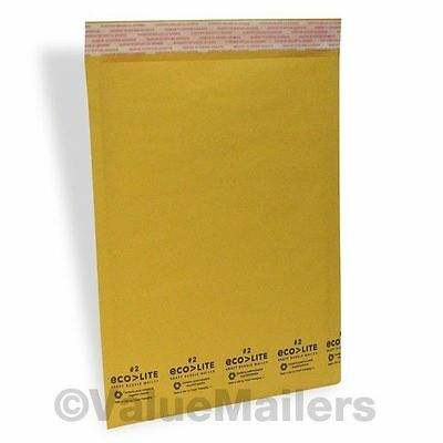 """100 #2 8.5x12 Ecolite Kraft Bubble Mailers Padded Envelopes Bags 8.5"""" x 12"""" USA"""