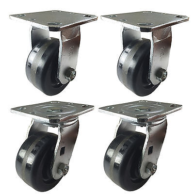 "4"" x 2"" Heavy Duty ""Phenolic wheel"" Caster - 2 Swivels and 2 rigids"