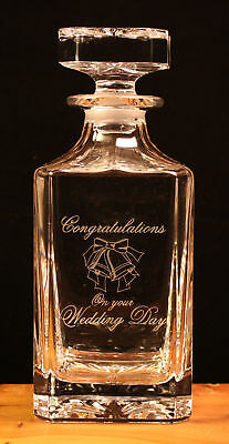 Wedding engraved crystal glass decanter gift new