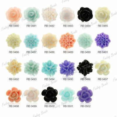 Wholesale Resin Lucite Flower Cabochons Beads Cameo Flatback diverse colours