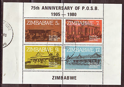 ZIMBABWE 1980 75th ANNIV OF POST OFFICE S/S USED 2045