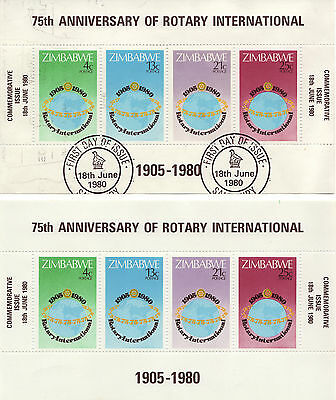ZIMBABWE 1980 TWO 75th ROTARY INTERNATIONAL S/S MNH AND USED 0104L