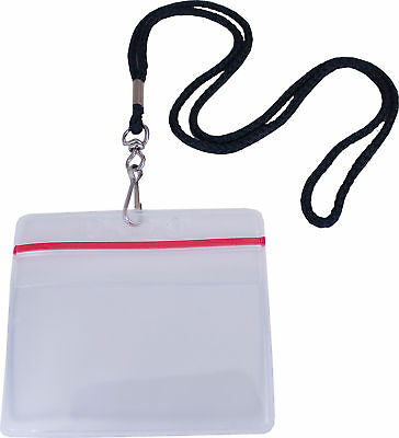 Zip Lock Id Card Badge Holder With Neck Lanyard
