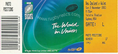 New Zealand V Wales Rugby World Cup 2003 Ticket