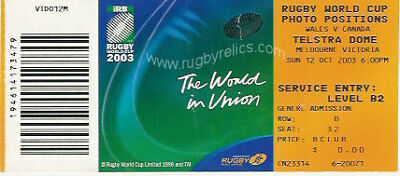 Wales V Canada Rugby World Cup 2003 Ticket