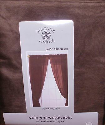 Chocolate Sheer Voile Window Panel / Curtain ~ Nip