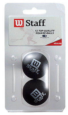 Wilson Premium Staff Squash Balls DOUBLE YELLOW Dot 2 Pack - WSF Approved