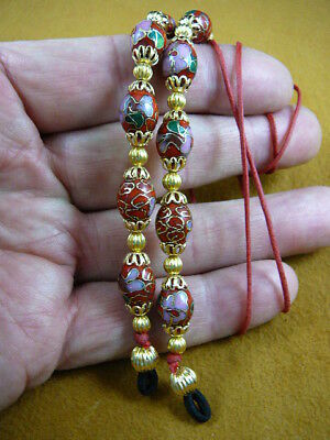 #E-66-84)  Red Cloisonné Eyeglass leash holder gold necklace lanyard beaded