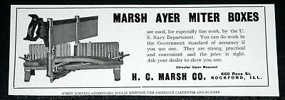 1910 Old Magazine Print Ad, Marsh Ayer, Wood Miter Box & Saw, Used By Us Navy!