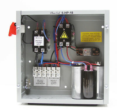5 HP ROTARY PHASE CONVERTER CONTROL PANEL  tuned for 3400-3600 RPM idler motor