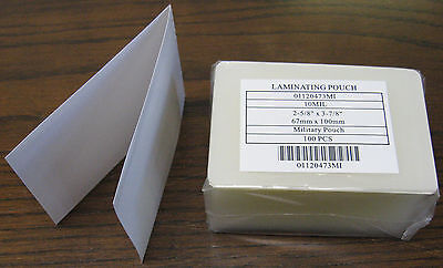 "Military Card 10 mil 2 5/8"" x 3 7/8"" Laminating Pouches"