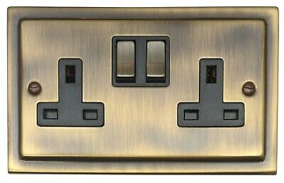 G&H TAB310 Trimline Plate Antique Bronze 2 Gang Double 13A Switched Plug Socket