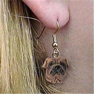 Shar Pei Brown Hanging Earrings Hypo-Allergenic Stone Resin Free Items a4u
