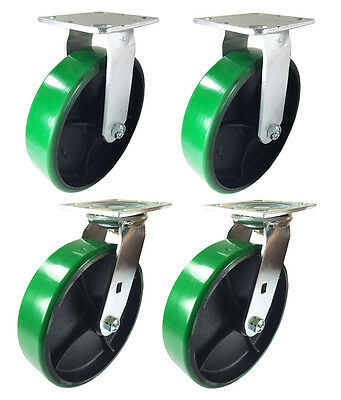 "8"" x 2"" Green Polyurethane on Cast Iron Casters -  2 Swivels & 2 Rigids"