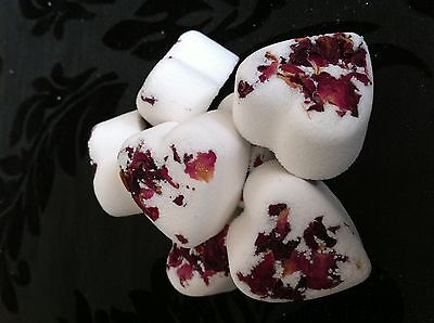 50 Rose Heart Bath Bombs With Rose petals