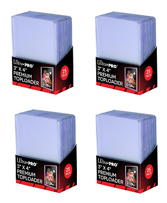 (100) Ultra-Pro Premium Topload Trading Card Holders Heavy Gauge Clear Toploader
